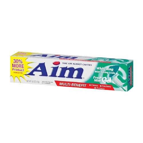 Aim Anticavity Toothpaste Gel, Multi-Benefit Whitening with Baking Soda, Fresh Mint 6 oz (170 g) by AB ()