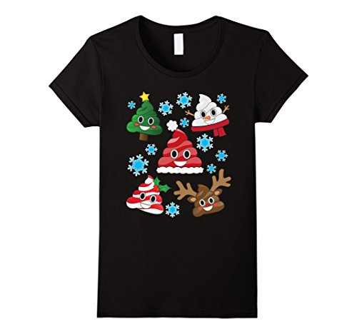 Womens Emoji Christmas Poop T Shirt