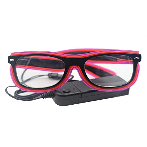Ake EL Wire Glasses Double Colors LED Fluorescent Flash Sunglasses Eyeglasses for Ballroom Bar Party