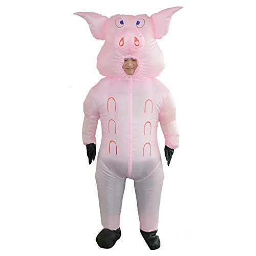 Wecloth Halloween Costume Inflatable Suit Pink Pig Cosplay Pig Blow Up Animal Farm Fancy Dress Costume