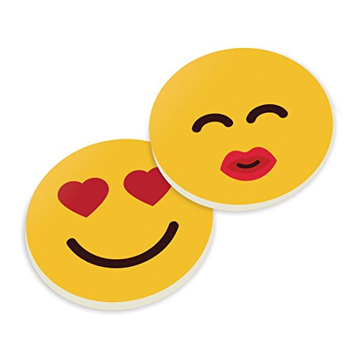Smile Hearts Face, Kiss Face 2 Piece Ceramic Car Coasters Set