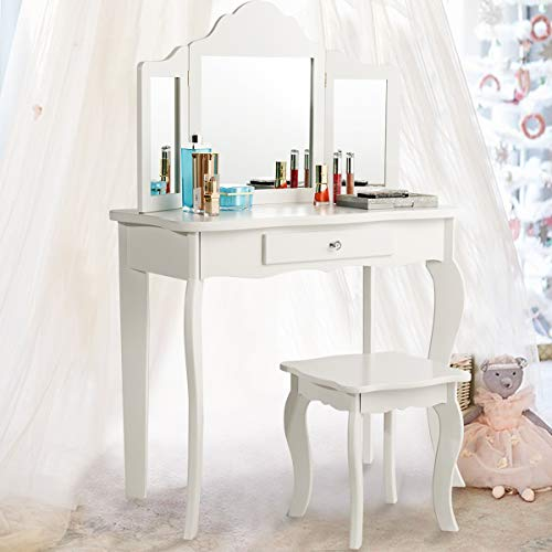 Costzon Kids Wooden Vanity Table & Stool Set, 2 in 1 Detachable Design with Dressing Dable and Writing Desk, Princess Makeup Dressing Table with Two 180° Folding Mirror, for Girls, Kids, White (Kid Vanity Set)