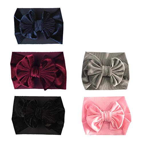 SuperiMan Wide Band Velvet Headband for Baby,Toddler Girls Bows Turban Head Wrap Hair Bands Photography Props Hairband (Navy+Wine Red+Black+Gray+Pink) (Baby Girl With Black Hair And Blue Eyes)