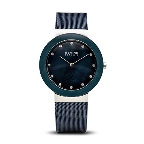 BERING Time 11435-387 Womens Ceramic Collection Watch with Mesh Band and scratch resistant sapphire crystal. Designed in Denmark.