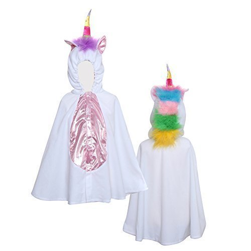 Storybook Wishes Little Girls White and Rainbow Unicorn Hooded Cape