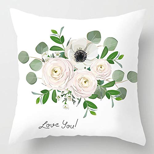 Art-zhuzi Pink Love Flower Letter Pillow Case 4545 Polyester Home Throw Pillows Soft Decorative Cushion Cover for Sofa Chair Pillow Cover AC11-8 450mm450mm