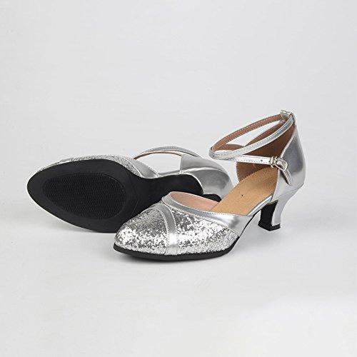 Cross Toe Women's Heel Latin Sequin Criss Silver Dance Pump Shoes Closed KINDOYO qZAUFSx