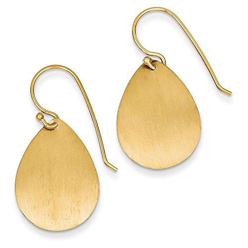 Solid 14K Yellow Gold Satin Teardrop Disc Earrings  14Mm X 29Mm