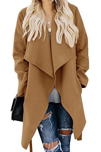 Umeko Womens Lapel Open Front Wrap Coat Casual Long Sleeve Winter Fall Warm Wool Blend Overcoat Outwear Khaki