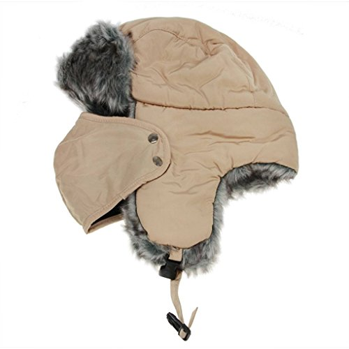 BXT Winter Universal Furry Trapper Bomber Hat Inner Lining Skiing Hat with Mouth-Muffle Beige