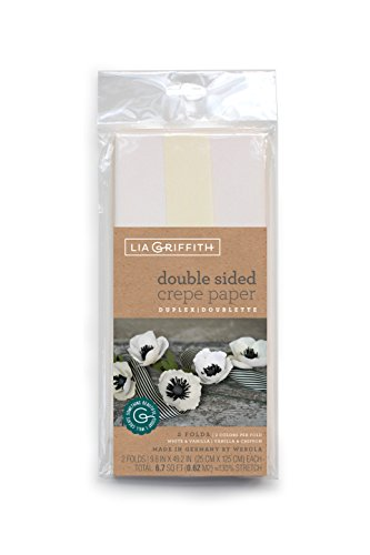 Lia Griffith Double-Sided Crepe Paper, White & Vanilla, Vanilla & -