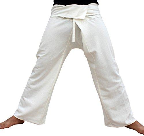 (RaanPahMuang Brand Plain Thick Muang Cotton Fisherman Wrap Pants Plus, XX-Large, Pale Cream)