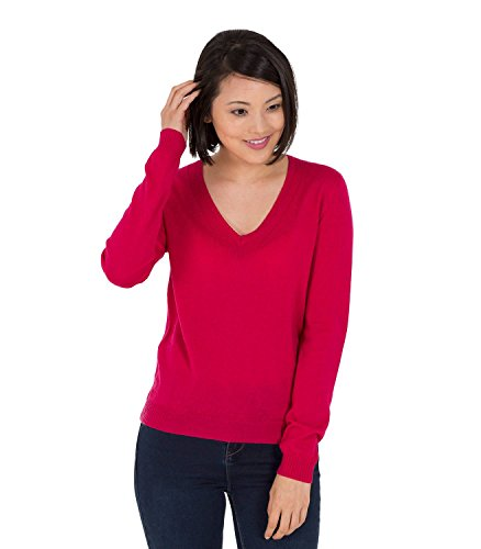 WoolOvers Womens 100% Merino V Neck Rib Detail Knitted Sweater Magenta, (Merino V-neck Jumper)
