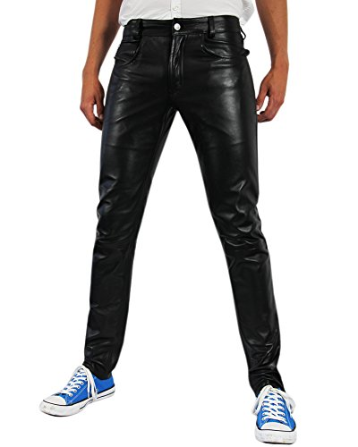 Bockle Men s Tube Lamb Leather Jeans Trouser Tight Leathe...
