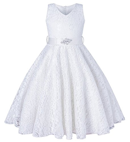 SHOWADAY Girl's Princess Sleeveless Tulle Lace Glitter Vintage Pageant Prom Dresses White 3T