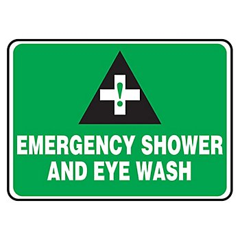 Emergency Shower and Eye Wash Sign7X10in Plastic (2 Pack) by New Pig Corporation (Image #1)