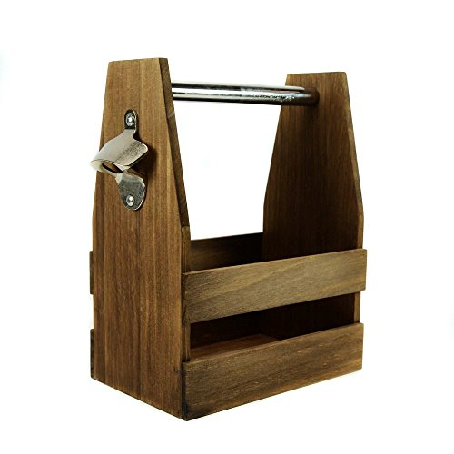 Wooden Beer Bottle Carrier/Caddy/Holder with Opener (Distressed Finish) Review
