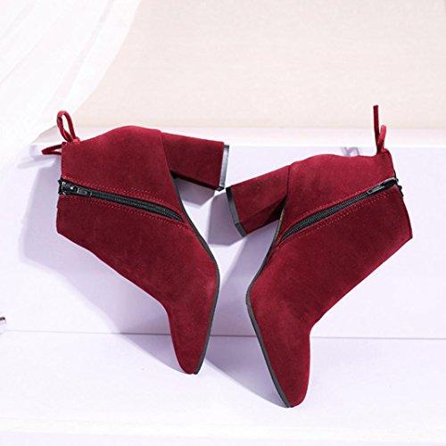 Dress Boots Boots Zipper High Shoes 7 Black 5 Heels US Boots Wine Up Ladies Lace Hemlock Womens Ankle Flat 45q7wSS