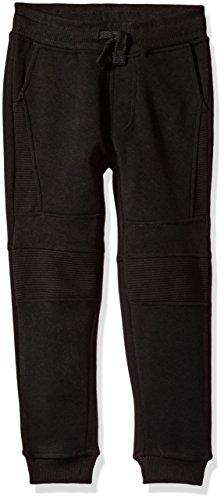 Southpole Little Boys' Kids Fleece Jogger Pants with Moto Details, Black(Moto), Small