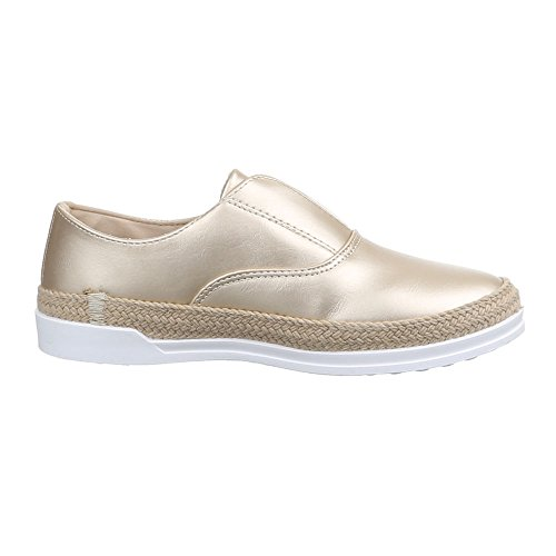 Gold Halbschuhe Slipper Moderne Ital Low Damenschuhe Top Design CR0wxS