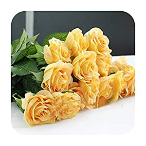Artificial Fowers 10Pcs 11Pcs/Lot Latex Rose Artificial Flowers Real Touch Rose Flowers for Year Home Wedding Decoration Party Birthday Gift,A Yellow 1,10Pcs 19