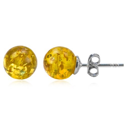 Sterling Silver Light Amber Classic Ball Stud Earrings Amber by Graciana 41441e