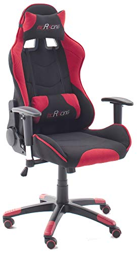 MC Racing 1 Silla Gaming, 100% Poliester, Negro y Rojo, 58x69x125 cm