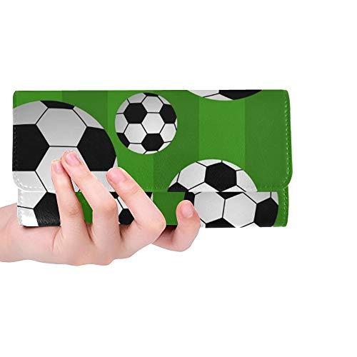 (Unique Custom Soccer Ball Women Trifold Wallet Long Purse Credit Card Holder Case Handbag)