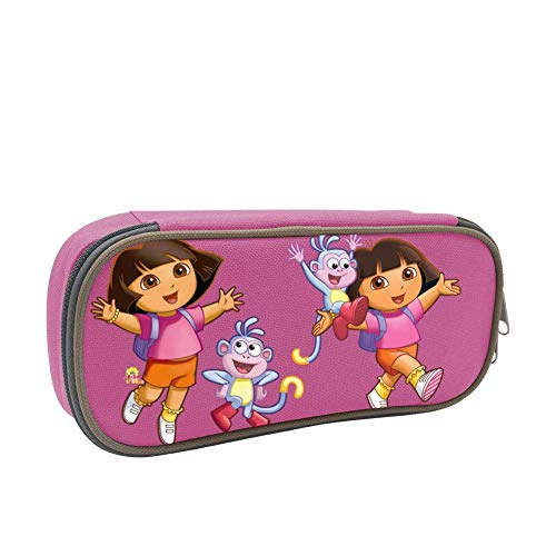 Dora Explorer Pencil Case Pen Bag Makeup Pouch Durable Students Print Boys Stationery with Double Zipper