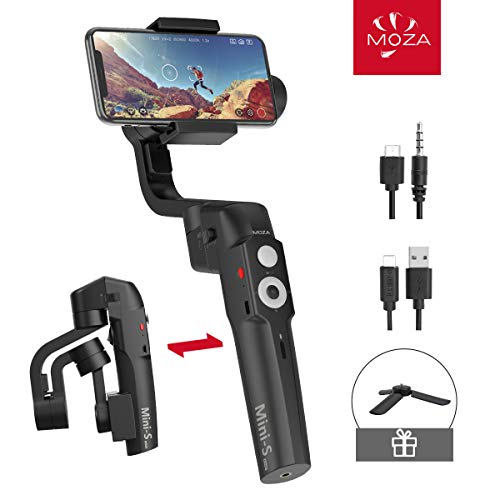 MOZA Mini-S Essential Foldable Phone Gimbal, Timelapse Object Tracking Zoom Vertigo Inception, 3-Axis Video Stabilizer for Smartphone Like iPhone Xs/Max/Xr/X/11 Pro Max Samsung Note 9/S9 Huawei