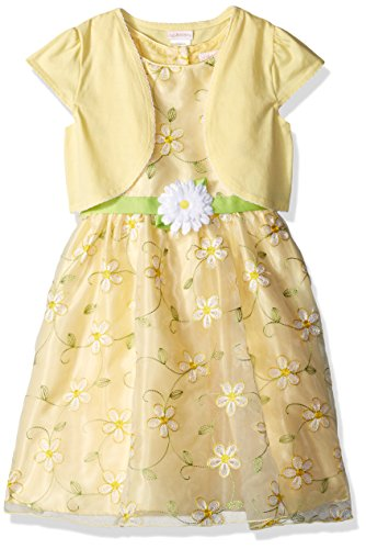 (Youngland Girls' Little Organza Special Occasion Dress & Knit Cardigan, Yellow, 4)