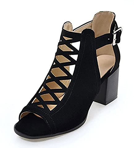 Aisun Women's Stylish Peep Toe Buckle Dress Block Medium Heels Gladiator Sandals Shoes Black 10 B(M) US
