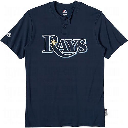 Tampa Bay Rays (ADULT MEDIUM) Cool Base Moisture Management Two-Button MLB Officially Licensed Majestic Major League Baseball Replica Jersey