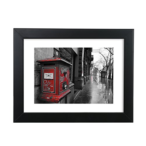 BOJIN Black 10 by 12 (25x30 cm) Wood Family Picture Frame Display 8x10 Photo Frame with Mat,Wall Mounting Material Included