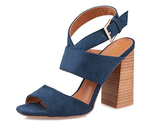 BALDI Women's Orinoco Navy/Tan City High Wide Square Heel Event Peep Toe Sandals Ankle Strap Buckle Shoes (EU 37/US 6.5) (Square Heel Sandal)