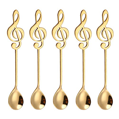 Espresso Spoons Mirror Polished Stainless Steel 304 Coffee Spoons 5 Pcs Teaspoons set for Sugar Dessert Cake Ice Cream Soup Antipasto cappuccino Vogue Musical Note Spoon, Gold