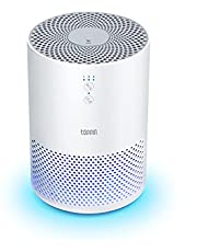 TOPPIN Air Purifiers for Bedroom - True HEPA 3-In-1 Air Purifiers UV Light/ Fragrance Sponge/ Night light, Eliminate Pollen Pet Hair Dander Smoke Dust Remover Odors Airborne Contaminants for bedroom