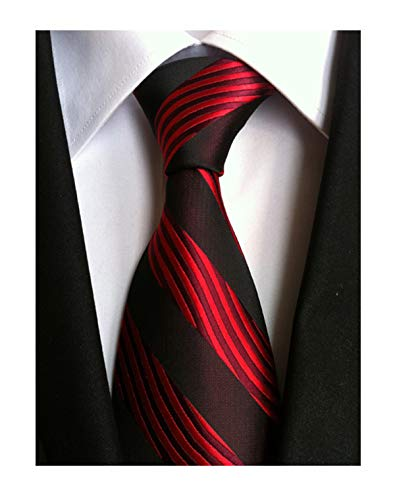 Men Stylish Red Black Silk Tie Elegant Fashion Jacquard Woven Necktie For Big and Tall Men - Red Woven Silk Necktie
