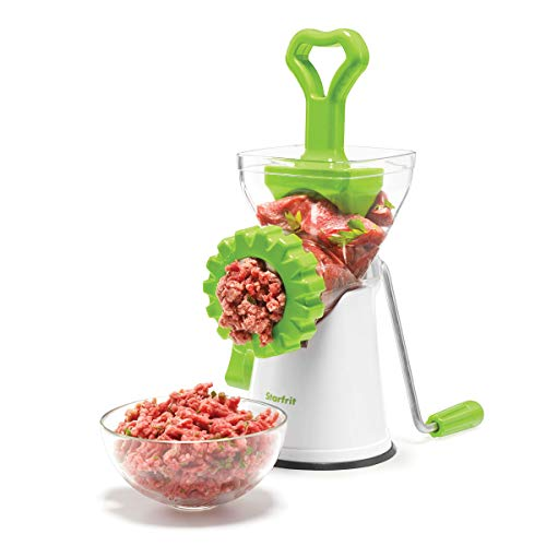 - Starfrit 093347-003-0000 Manual Meat Grinder,White/Green