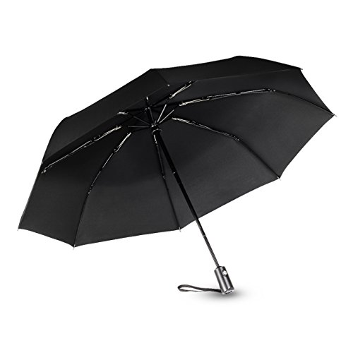 SHINE HAI Travel Umbrella, Auto Open/Close for One Handed Operation, 8 Ribs Durable Construction, Compact Umbrella for