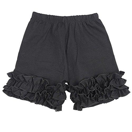 Wennikids Baby Little Girls Short Cotton Icing Ruffle Shorts Large Black]()