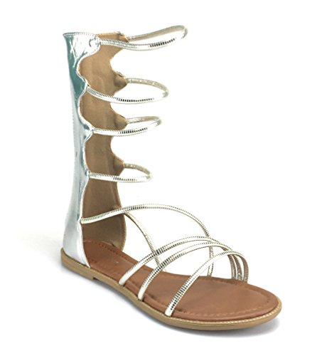 Forever Link Mujeres Ladies Cut Out Gladiador Sandalias Planas Botas De Rodilla Strappy Gold-ruthless01