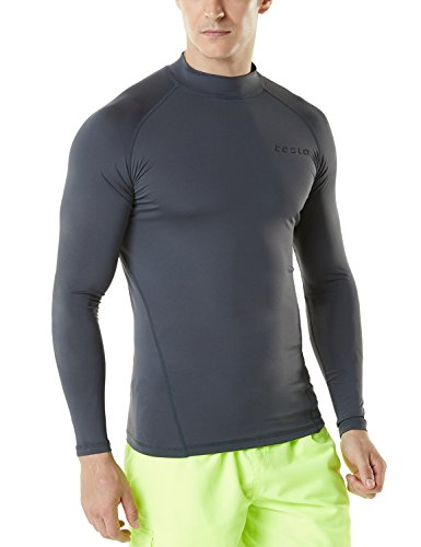 TSLA Men's UPF 50+ Long Sleeve Rashguard, Basic(msr19) - Charcoal, 2X-Large.