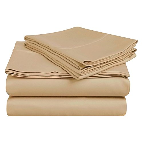 """4-Piece Sheet Set for RV Size 42""""X80"""" Taupe Solid 100% Egyptian Cotton 600 Thread Count (10"""" Drop) Bed Sheets"""