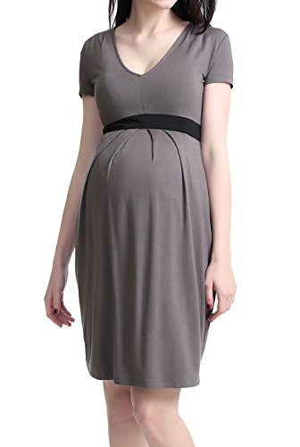 Momo Maternity Womens Contrast Pleated Dress