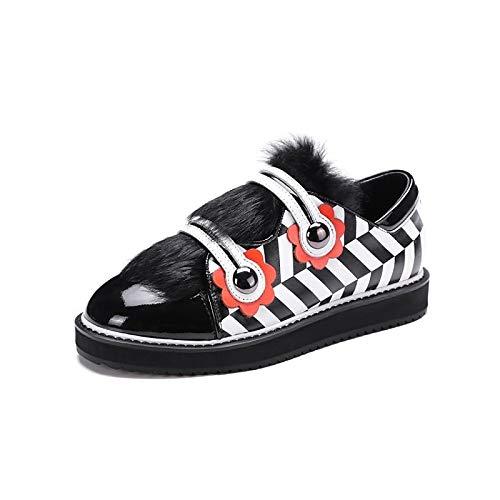 donna Sneakers pelle piatto ZHZNVX Nappa Tacco Inverno amp; da nero in Scarpe Comfort Black Autunno Ex1qw4