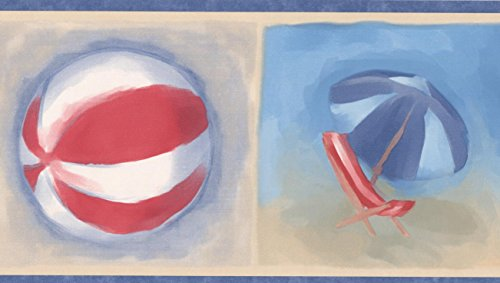 Blue White Red Beach Flip-flops Ball Chair Umbrella Kids Bucket and Shovel Beige Wallpaper Border Retro Design, Roll 15' x 5''