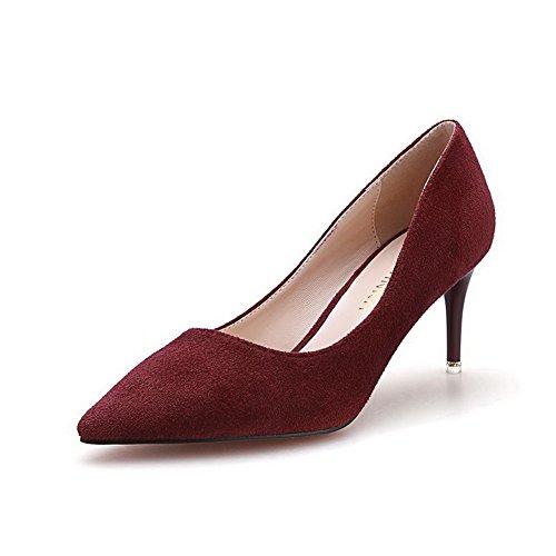 Glissement Du Talon Aalardom Femme Stiletto Jeux Au Sol Solide, Rouge, 36