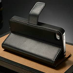 ModernGut Genuine Leather Wallet with Stand Mobile Phone case for iPhone 4 4S 4G with Card Holder Luxury Flip Book cover for iphone4 Black