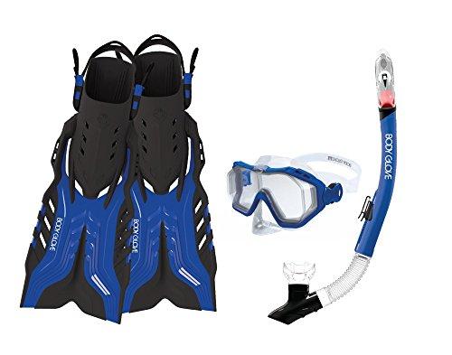 Body Glove Aquatic Predator Purge Mask Snorkel and Fins Set, Large, Blue/Black